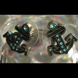 Blue crystal anchor mermaid sea earrings Betsey